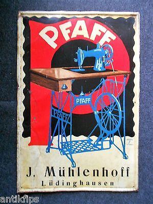 Pfaff Nähmaschinen altes Blechschild um 1920 Kaiserslautern Ludwig Hohlwein