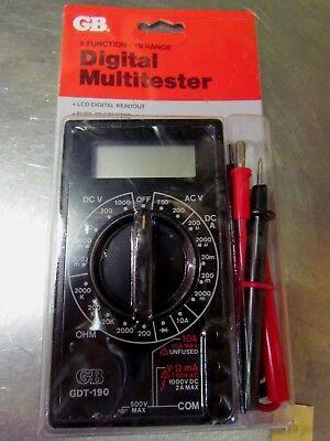 Gb Multitester Multimeter Digital 1000v 5 Function 19 Range Gdt-190