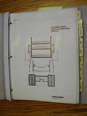 Terex Cedarapids 1145 Portable Crusher Screen Plant Operation Maint Manual Guide