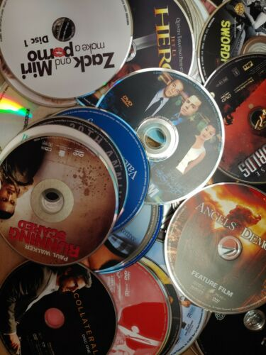 Lot of 100 Bulk Assorted Used Movies DVDs Mixed Variety Kids Teens Adults