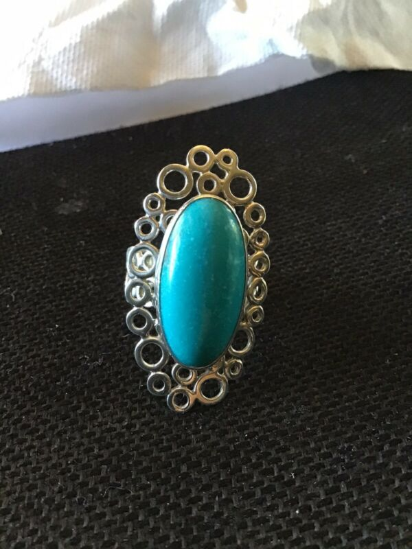 EXQUISITE TURQUOISE RING IN STERLING SILVER