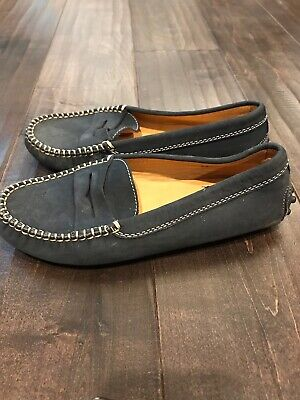 TOD'S Junior Navy Blue Leather Suede Driving Mocassin Size 1.5 Kids/EU Size 33