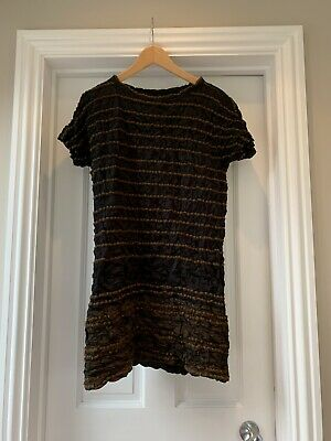 Issey Miyake Pleats Black and Brown Striped Dress Size S