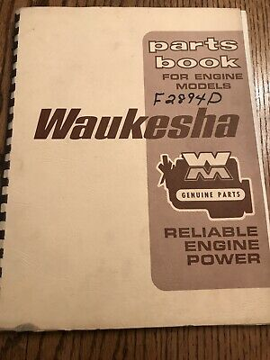 Waukesha Parts Book For Engine Models F 2894 D