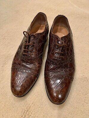 Vintage Polo Ralph Lauren Dk Brown Alligator Cap Toe Oxford Shoes 9 1/2