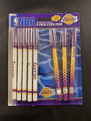 Nba Los Angeles Lakers 8 Pack Stick Pens 5 Black 3 Blue Color Ink Pen Set