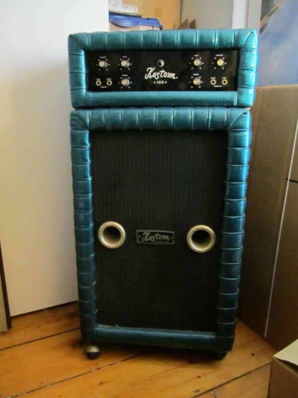 Kustom K100 Stack Amplifier with Speaker Cabinet Tuck and Roll Cascade Covering