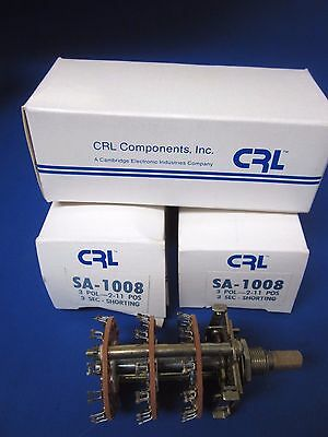 Crl Components Rotary Switch Sa-1008 3 Pole 2-11 Positions Lot Of 3 New