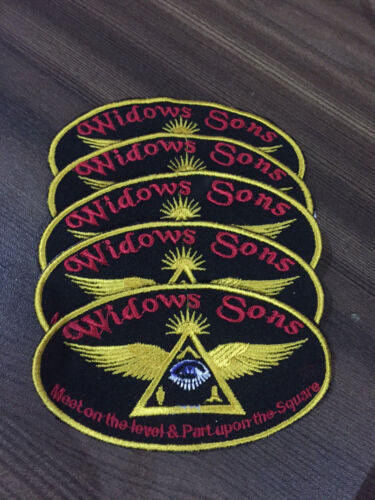 5 pc Widows Sons Patches 3.50 Inches Square & Compass , Masonic Patches,MM Patch