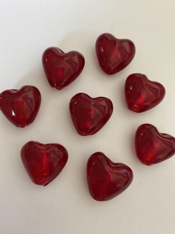 8 RED LAMPWORK HEART BEADS  20mm - DIY JEWELRY MAKING