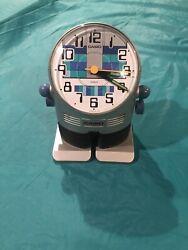 Vintage Casio AC-100 Robot Alarm Clock 1980's Yellow Made in Japan
