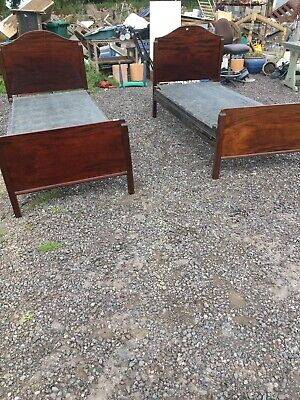 2 X Old Vintage Antique Single Bed By VONO Metal Spring Base  1/9/B