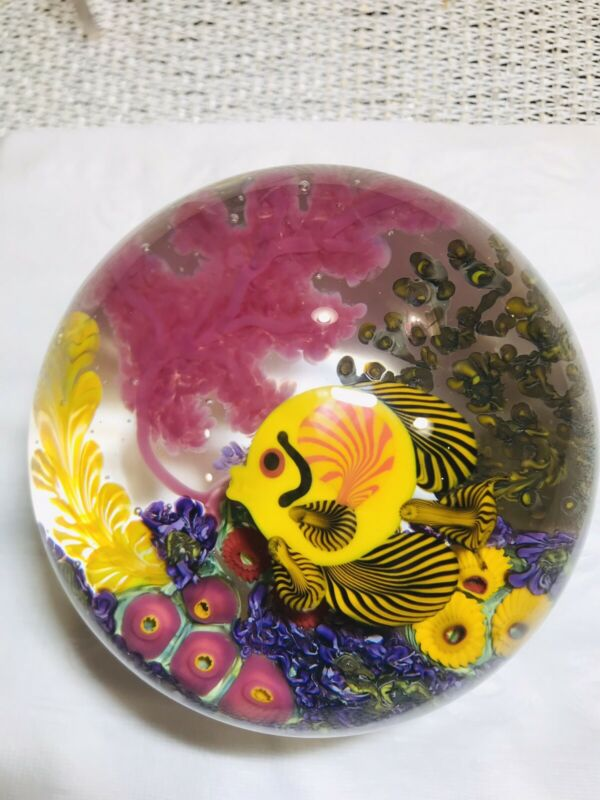 "Chris Heilman ""Coral Reef/Butterfly Fish""  Magnum Art Glass Paperweight"