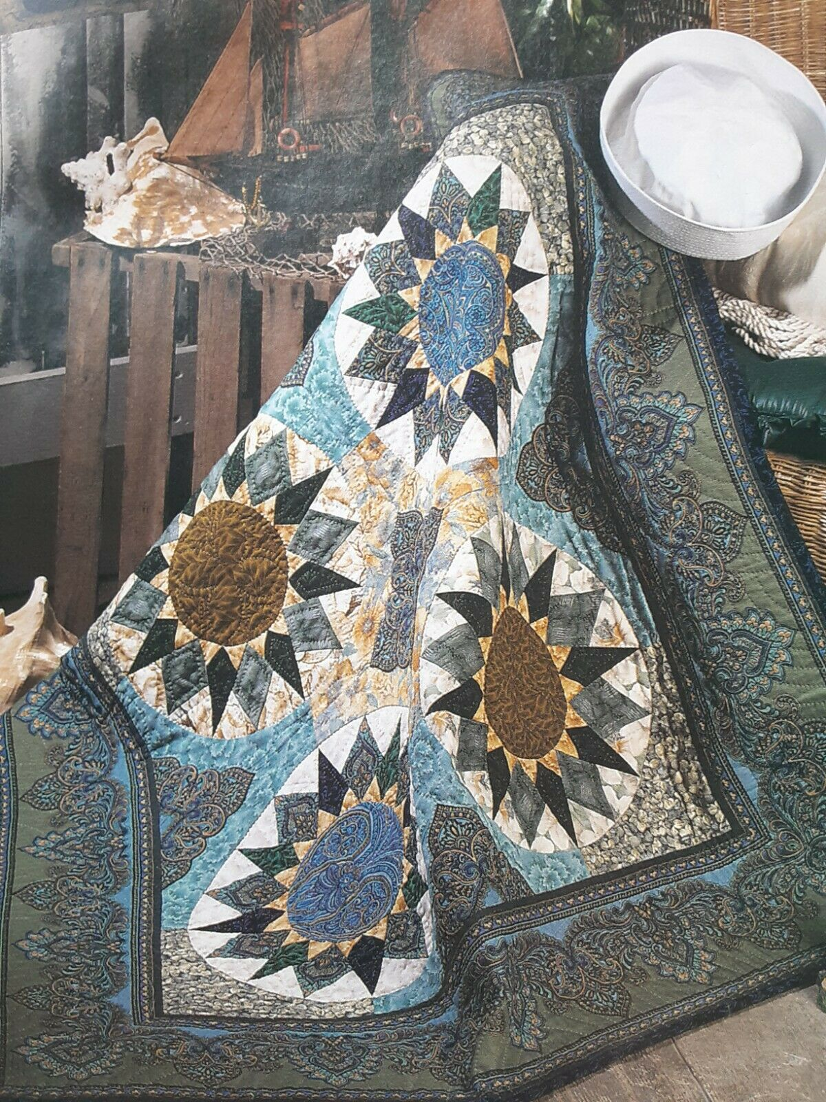 Devonshire Compass Quilt Magazine Pattern Throw/wall Quilt - $1.75