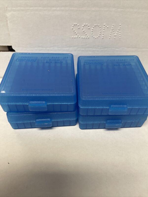 22 LR / .25 ACP Ammo Box Clear Blue 100 Round (Quantity 4) Free Shipping (MTM)