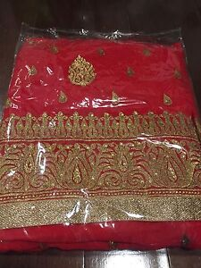 Brand New Heavy Red Saree - Unstitched