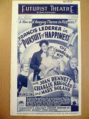 1935 Rare Futurist Picture Programme from Birmingham 'Pursuit of Happiness'