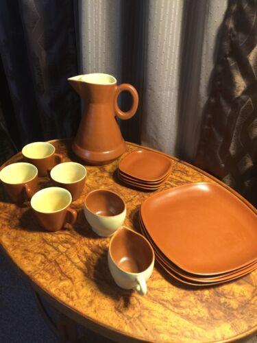 winfield dinnerware pasadena MCM coffee carafe plates cup set brown