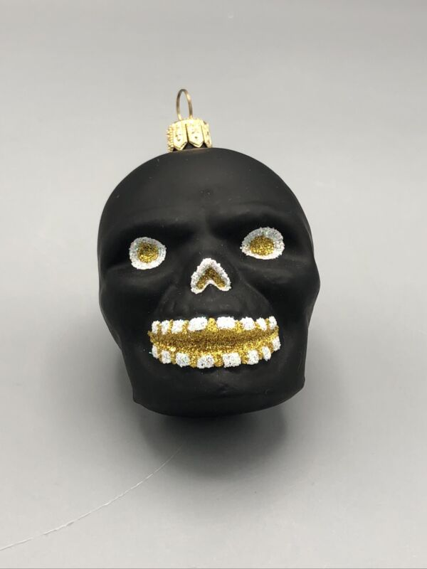 Black Skull Halloween Ornament Gold and White Glitter Eyes and Mouth - Awesome