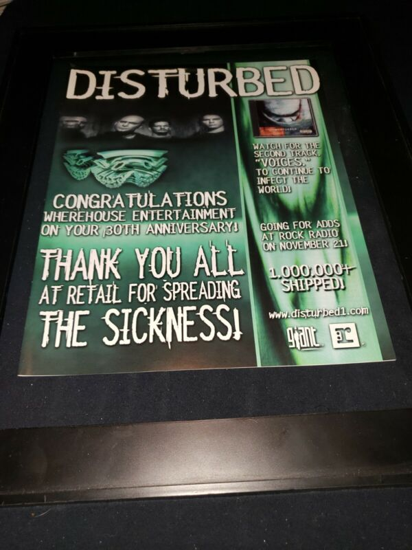Disturbed Voices Rare Original Radio Promo Poster Ad Framed!