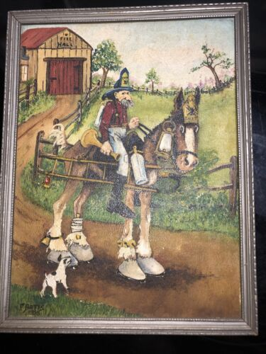 Vintage Oil Painting Signed F. Bates Fire Hall Fireman On Horse 8x12  - $25.00