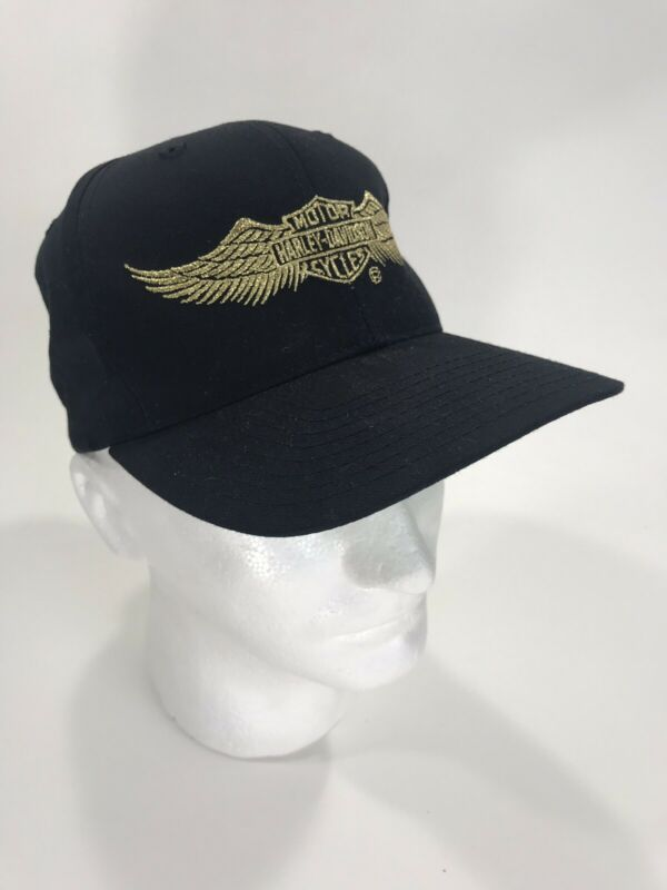 Vintage Harley Davidson Snapback Hat Motorcycles Wings Embroidered Gold NICE