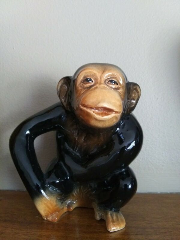 Vintage Porcelain Monkey Figurine Chimpanzee England 4 inches
