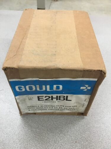 NEW BOX OF 10 GOULD HANDLE BLOCKING CLIPS FOR CIRCUIT BREAKERS E2HBL