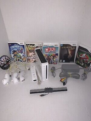 Nintendo Wii Console Bundle With Controllers and Games RVL-001 Tested and Works