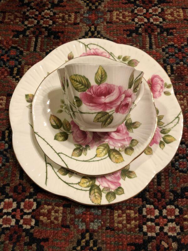 "Vtg Shelley ""Rambler Rose"" Cup, Saucer & Plate Trio Gold Rim #13671 England"