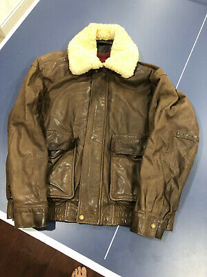 TIMBERLAND WEATHERGEAR VINTAGE BROWN LEATHER JACKET MEN'S LARGE GREAT CONDITION