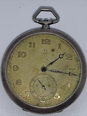 Vintage OMEGA pocket watch from the 20s in Art Deco style. Silver case.