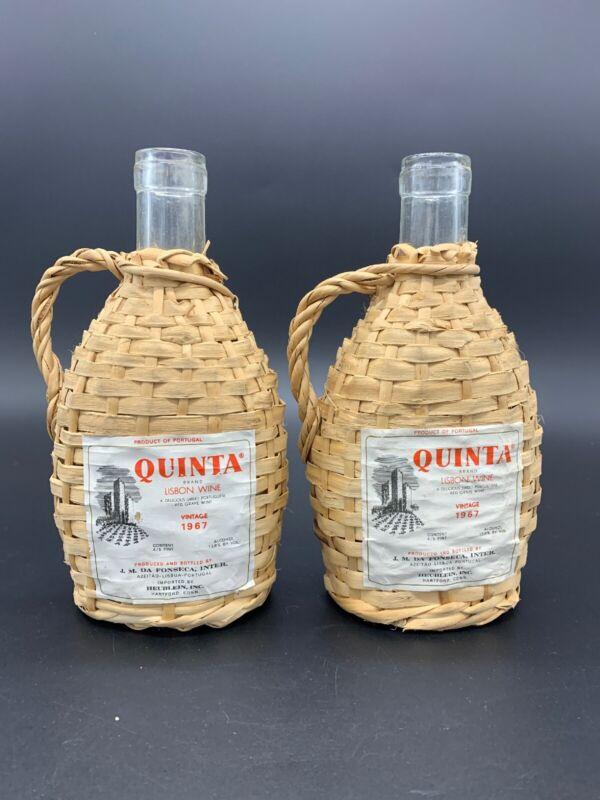 2 1967 Empty Quinta Lisbon Portugal Wine Bottle Wicker Wrapped Paper Label