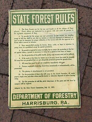 Vintage ORIGINAL Pennsylvania State Forest 1921 1920s Metal Sign US DNR RARE