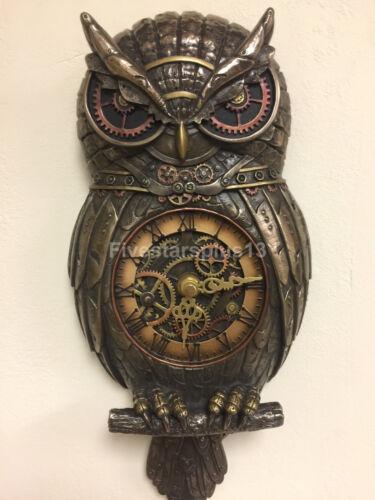 Steampunk Owl Pendulum Wall Clock Cold Cast Brzone