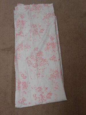 NEW SIMPLY SHABBY CHIC FLORAL PINK & WHITE ROSE TOILE FABRIC SHOWER CURTAIN