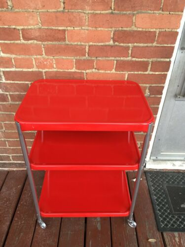 VINTAGE MID CENTURY 3 TIER COSCO SERVING UTILITY CART CHERRY RED COLOR
