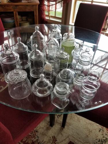 HUGE VINTAGE GLASS APOTHECARY JAR LOT ~ 16 JARS
