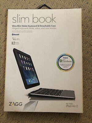 ZAGG Slim Book Tablet Keyboard & Detachable Case Bluetooth iPad Air 2 Black New