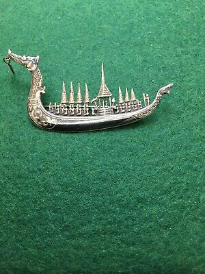 Thai Siam Niello Sterling Silver Suphannahong Royal Barge Boat Brooch