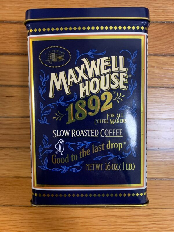 """VINTAGE TIN MAXWELL HOUSE """"1892"""" -100 YR. ANNIVERSARY TIN FROM 1992"""
