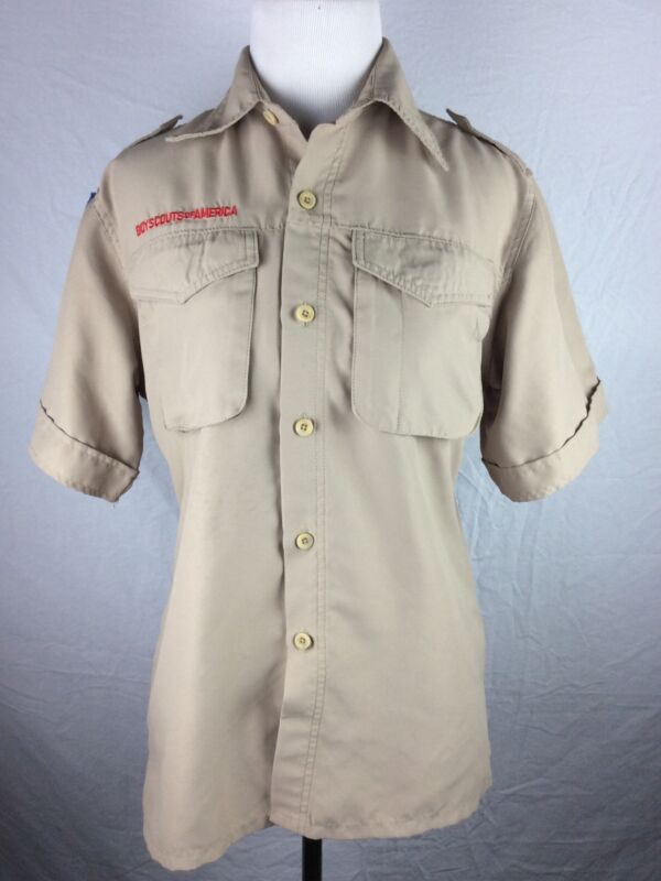 Youth Boy Scout BSA Uniform Shirt Short Sleeve No Patches L Large 100% Polyester