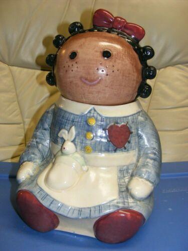 "Vtg Treasure Craft Black Raggedy Ann Doll "" Spice "" Cookie Jar VGC Free S/H"