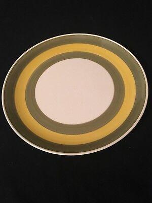 Vintage Majolica Curry Kasuga Chop Plate Platter Dish Green Yellow 12 1/4