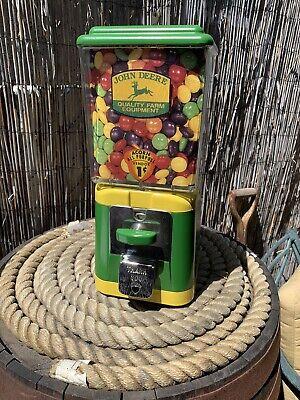 Vintage Oak Acorn JOHN DEERE Gumball Nut Machine Refurbished with key