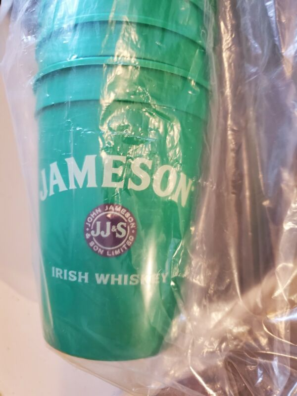 Collectible Green Jameson Irish Whiskey Plastic Cups set of 25 brand new solid