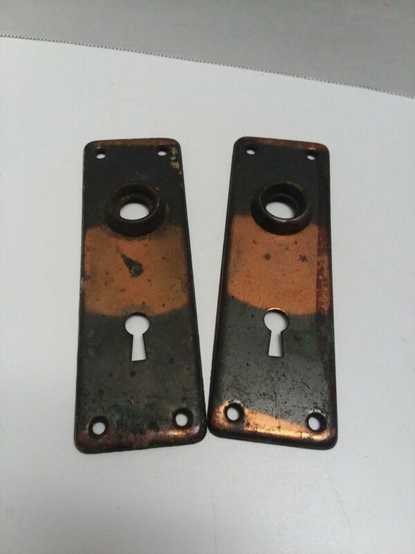 (2) Vintage Key Hole Door Knob Plates