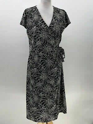 Valerie stevens wrap dress black white floral print size M Medium  (M Stevens Wrap)
