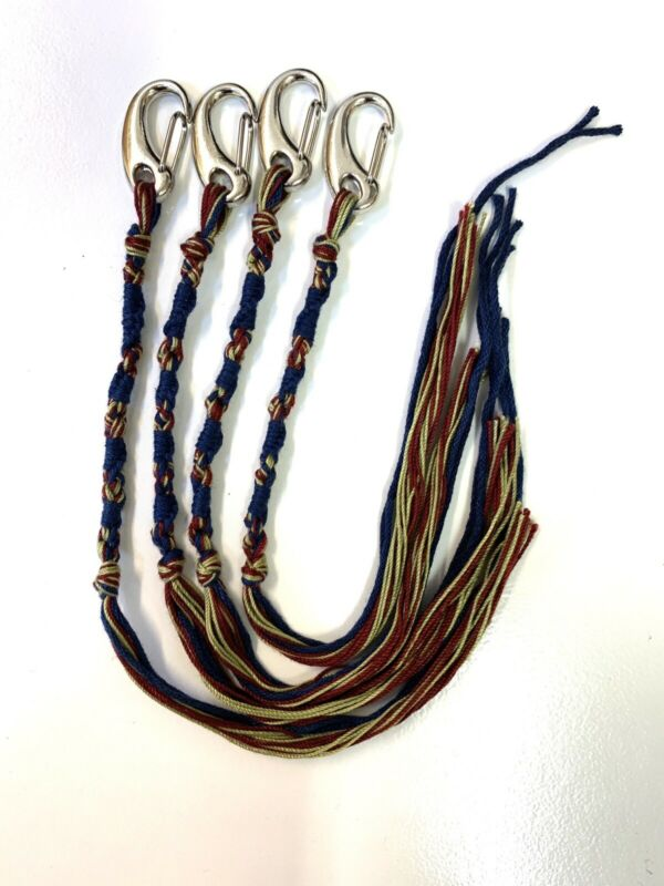 TZITZIT w Clips 4pc OLIVE-Deep Red-Navy Messianic tallit Tzitzits YHWH Knoted