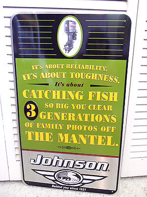 Vintage 90s Johnson Outboard Motors Sign Boat Advertising Fishing Story Funny